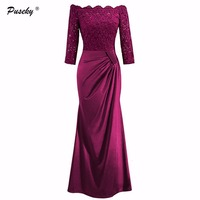 Women Sexy Floral Off Shoulder Lace Dress 2017 New Fashion Evening Party Slash Neck Long Maxi