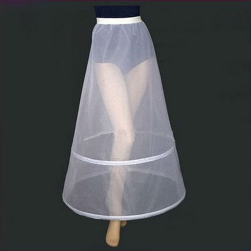 Womens Bridal 2 Hoops A-Line Ankle-Length Full Slip Petticoat One-Layer Elastic Empire Waist Wedding Dress Crinoline Underskirt
