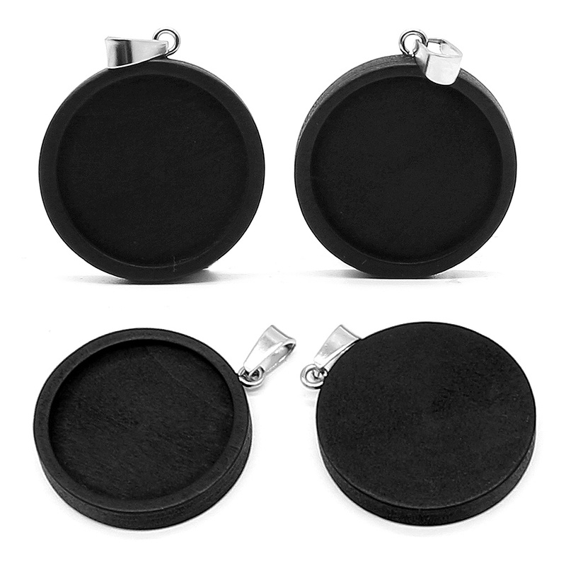 10pcs Black Wood Cabochon Base Fit 20 25 30mm Blank Stainless Steel Pendant Trays Diy Jewelry Accessories for Necklace Making