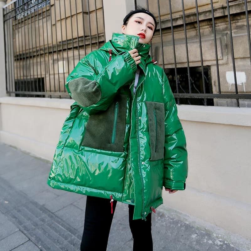 Oversized Women's Winter Jacket Chic Big Pocket Warm Cotton Padded Coat Female   Parka   2019 New Arrival Hooded Glossy Jacket Women