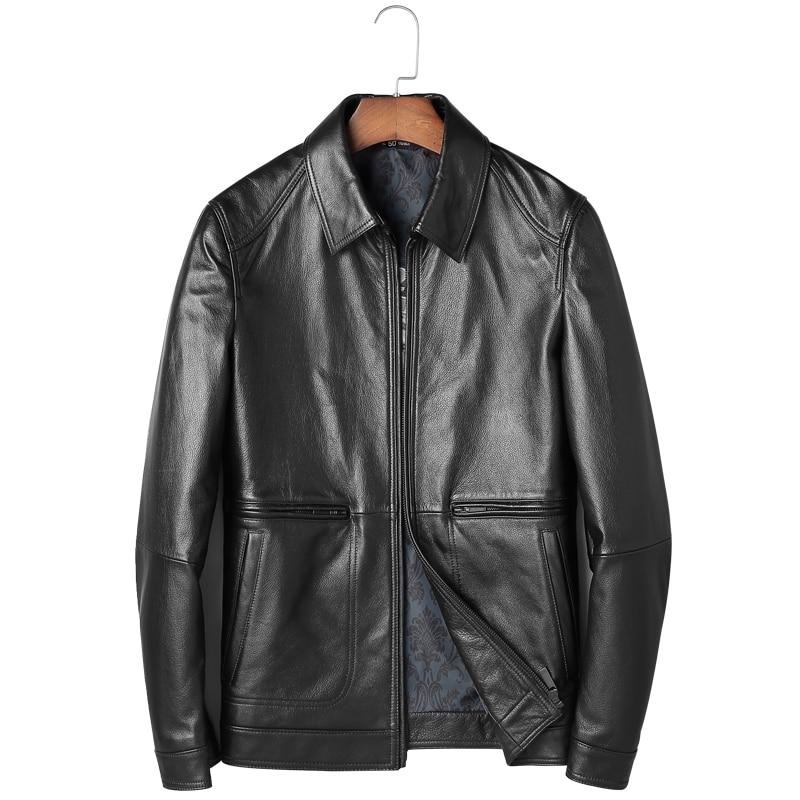 Mode Veste en peau de Mouton Vestes En Cuir Hommes En Cuir Véritable Veste Hommes Mâle Vêtements Mince Col Carré Moto Chaqueta M-4XL