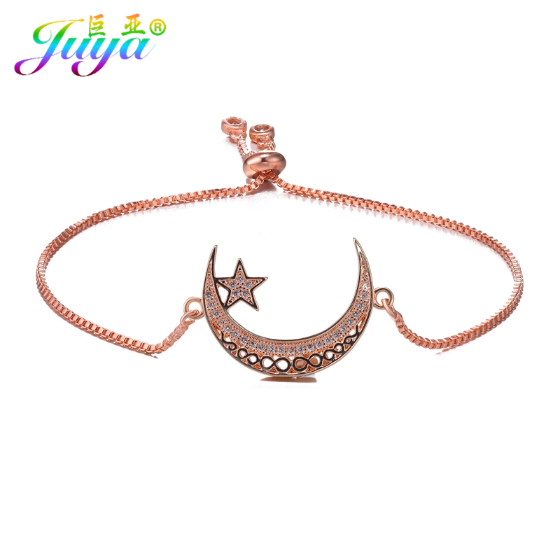 Muslim Prayer Jewelry Supplies Gold/Silver/Rose Gold Crescent Moon Star Bracelets For Women Men Adjustable Chain Allah Bracelet