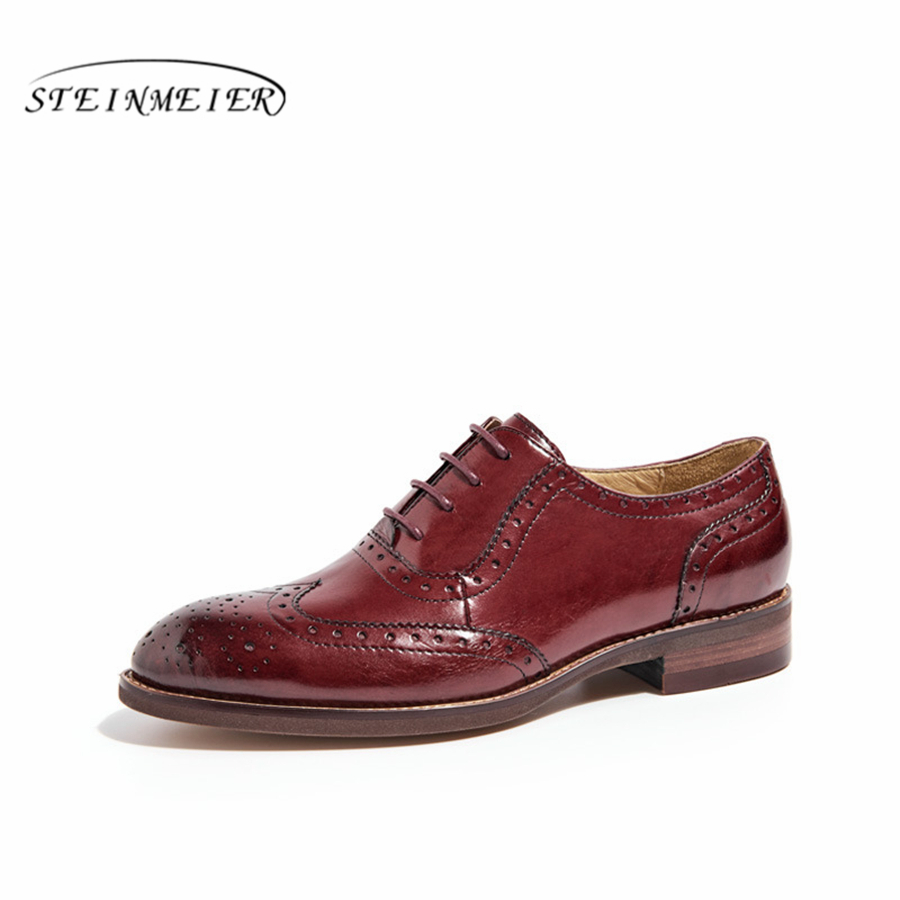 100% Genuine sheepskin leather brogues yinzo lady flats shoes vintage handmade sneakers oxford shoes for women brown black blue women genuine sheepskin leather yinzo shoes vintage flat round toe handmade white sneakers oxford shoes for women 2017