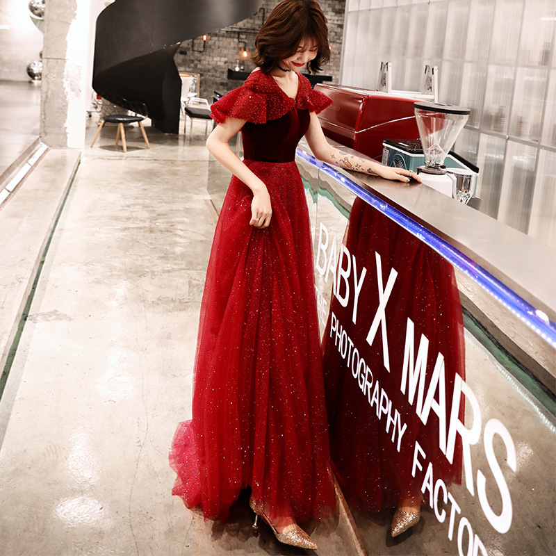 V-neck   Evening     Dresses   Wine Red Crystal Lace Up Formal Prom   Dress   Short-sleeves A-line Floor Length Plus Size Party Gowns E367