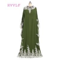 2019 Muslim Evening Dresses A line Long Sleeves Green Chiffon Lace Islamic Dubai Abaya Kaftan Long Evening Gown Prom Dress