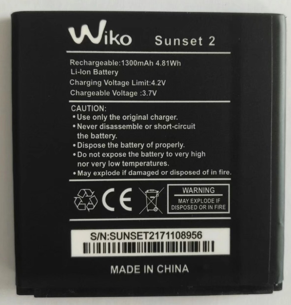 New original High Quality 3.7V 1300mAh Wiko Sunset 2 Battery for mobile phone