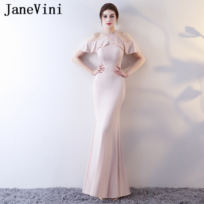 JaneVini Graceful Satin Beaded Sequin Long   Bridesmaid     Dresses   With Sleeves 2018 Mermaid Zipper Back Formal Prom Gowns Jurk Lang