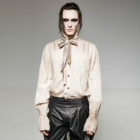 Steampunk Vintage Painting High Quality Linen Men S Tie Shirt Gothic Stand Collar Long Sleeve Casual
