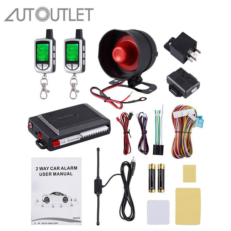 Système d'alarme auto 2 voies AUTOUTLET + démarrage moteur télécommande LCD porte-clés porte-clés pour 2 voies de sécurité Twage StarLine B9 B 9