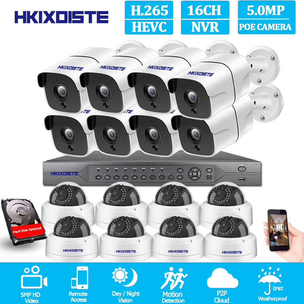 H.265 16CH 5MP POE NVR CCTV System 5MP Outdoor IP67 Weatherproof POE IP Cameras Video Security Set 8CH 4K HDMI