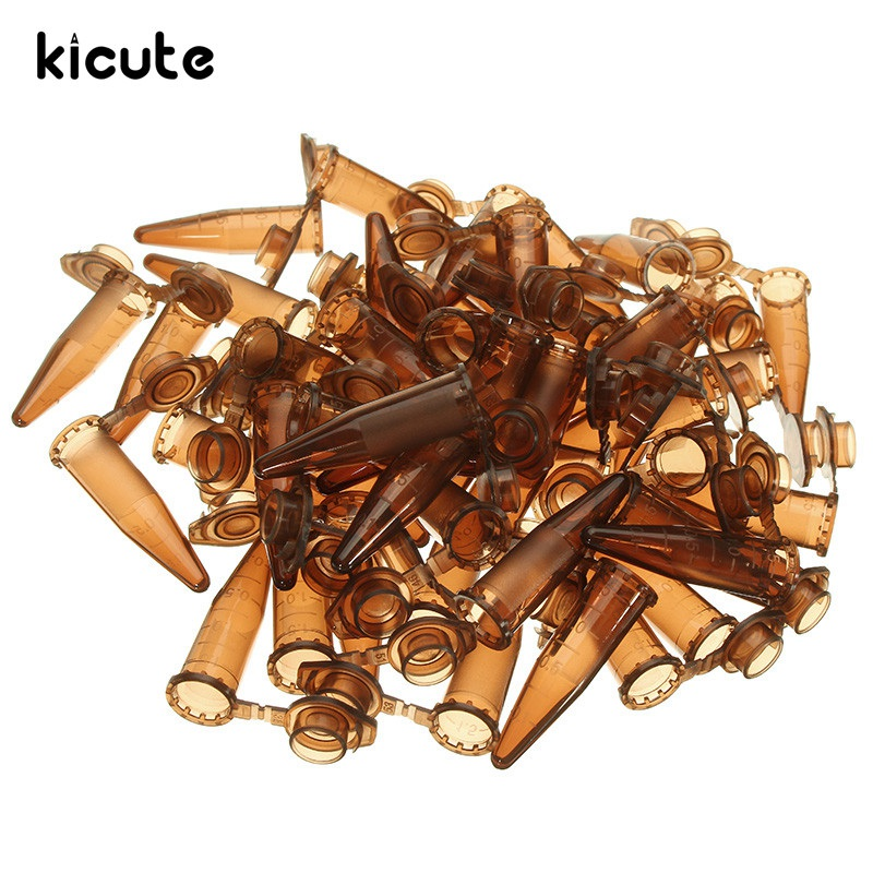 Kicute 50pcs/set 1.5ml Brown Plastic Centrifugal Test Tube Sample Vial With Snap Cap For Sample For Lab Equipment School Supply
