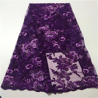 African Lace Fabric 2019 High Quality Lace 3d Flower Lace Fabric Embroidery lace trim 5yards For African Bridal dress