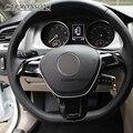 Para Volkswagen VW Golf 7 GTI MK7/POLO 2014 2015/Jetta MK6 2015 cubierta del volante del coche ABS chrome recortar engomada de la decoración