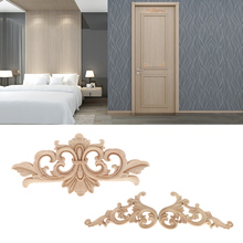 1 Pcs Floral Wood Carved Decal Corner Appliques Frame Wall Doors Furniture  Woodcarving Decorative Wooden Figurines