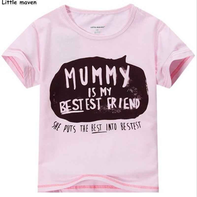 Little maven 2016 new summer baby girls funny t shirt for Newborn girl t shirts