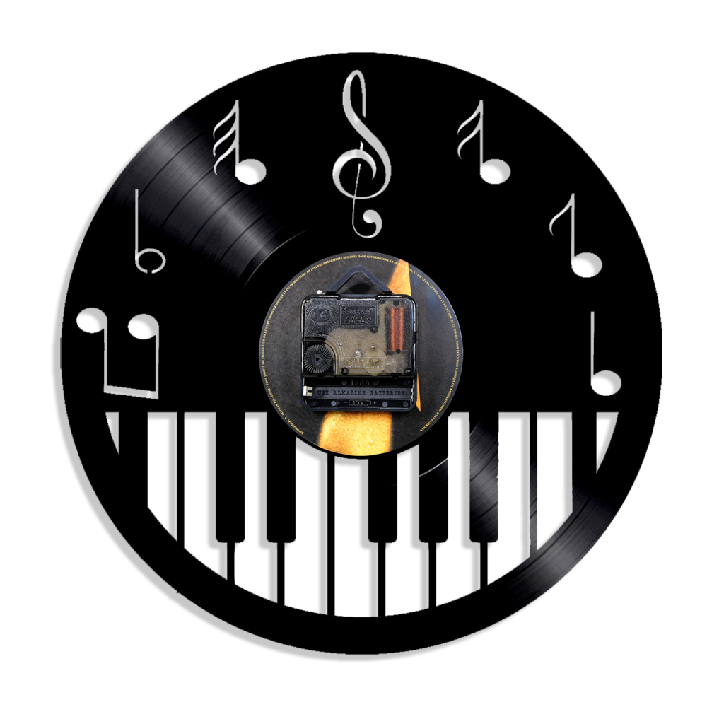 1Piece Piano Keyboard Vinyl CD Wall Clock Musical Instrument Wall