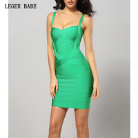 Green Spaghetti Strap Party Dresses Wear Women 2019 Sexy Going Out Night Outfits Mini Bandage Dress Ladies Celebrity