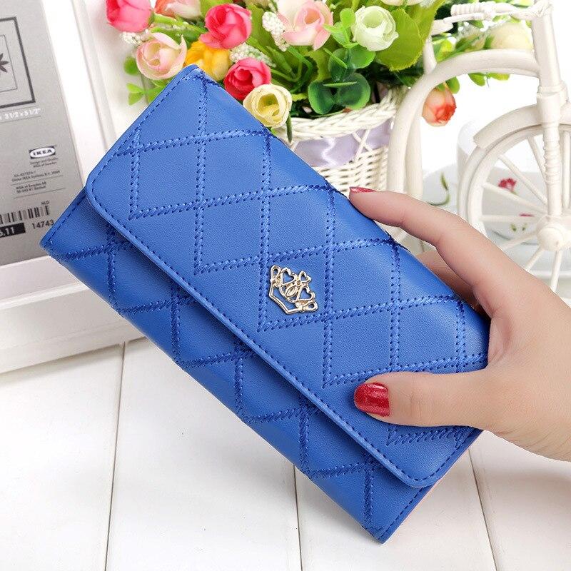 New 2017 Casual High-Capacity Women Wallets Lingge Metal Crown Lady Long Casual Clutch Wallet Zipper Hasp Purse Women Coin Purse fuzzy metal clutch wallet
