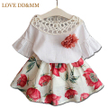 Girls Clothing Sets New 2017 Summer Girls Clothes Kids Tops + Fashion Casual Flower Skirts Suits Kids Clothes