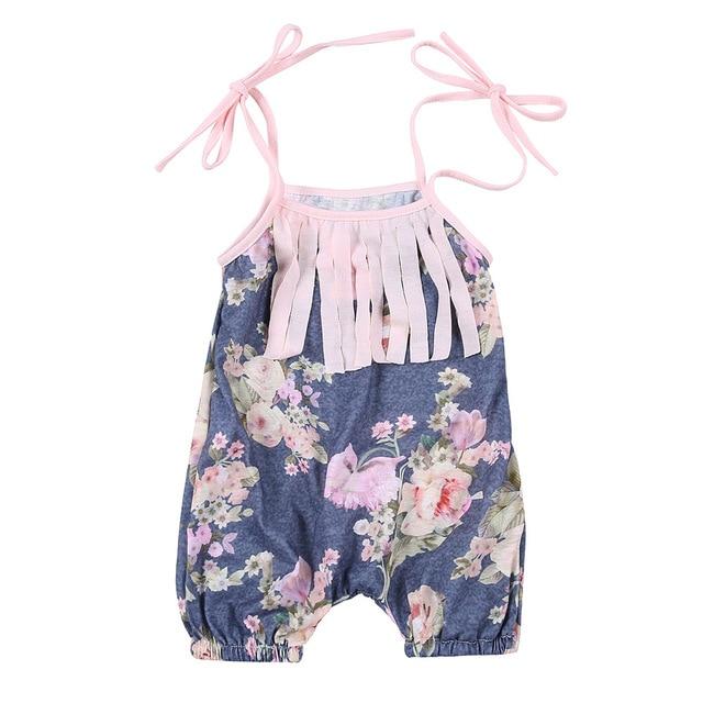 Été Floral Imprimé Bébé Barboteuse, vintage style bébé filles vêtements,  glands de mode Bébé