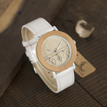 2017 37mm Brand BOBO BIRD Watch Women Natural Wooden Watches Genuine Leather Strap Ladies Wristwatches relogios femininos B-E24