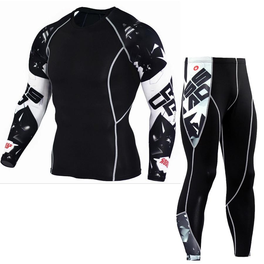 Mens Running Set Compression T-Shirt + Pants Sport Long Sleeves T Shirts Fitness Rashguard Men Gym Leggings Clothes Tight Suit 1