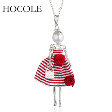цена на New Long Chains Doll Necklace Choker Lovely Dress Rose Charm Pendant Necklace Jewelry Women Doll Necklace with Handbag 2018