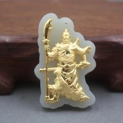 New Baik 24 K Kuning Emas & Hetian Jade Pendant Wanita Pria Berkat Guangong Pendant/45x30mm