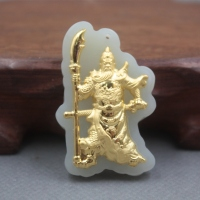 New Fine 24K Yellow Gold &Hetian Jade Pendant Women Men Blessing Guangong Pendant / 45x30mm