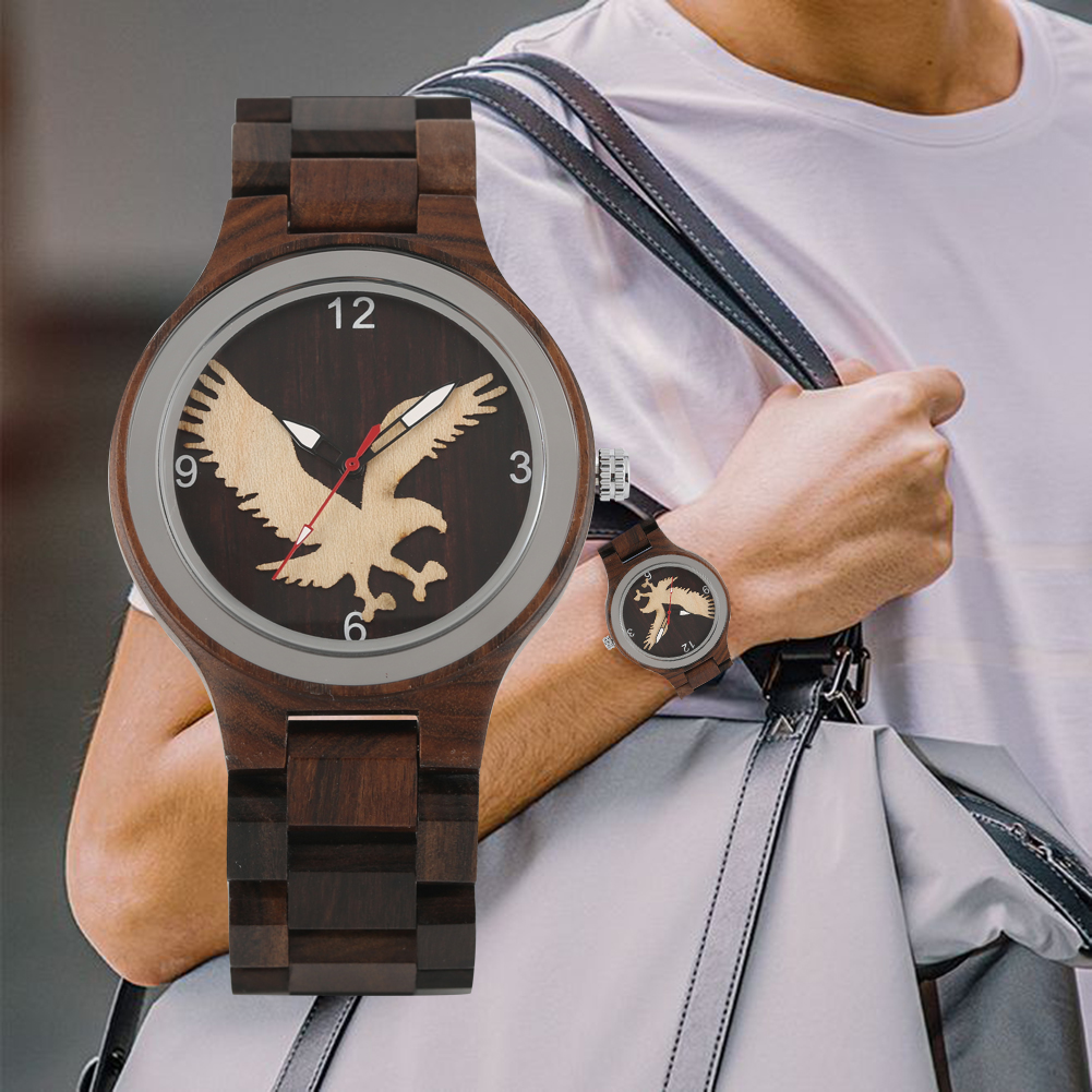 Men's Wooden Watches Eagle Pattern Wooden Wristwatch Quartz Movement Wooden Watches(China)