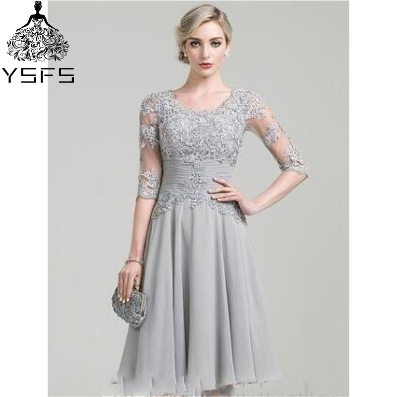 Lace Mother Dresses 2017 Silver Appliques Half Sleeves