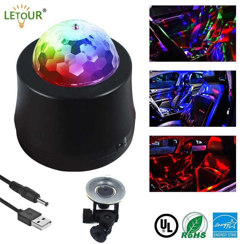 RGB LED Lamp Car DJ Light 6Colors 6W RGBW Party Lights Sound Sensing Laser Stage Light Crystal Magic Ball Gorgeous Rock Lights