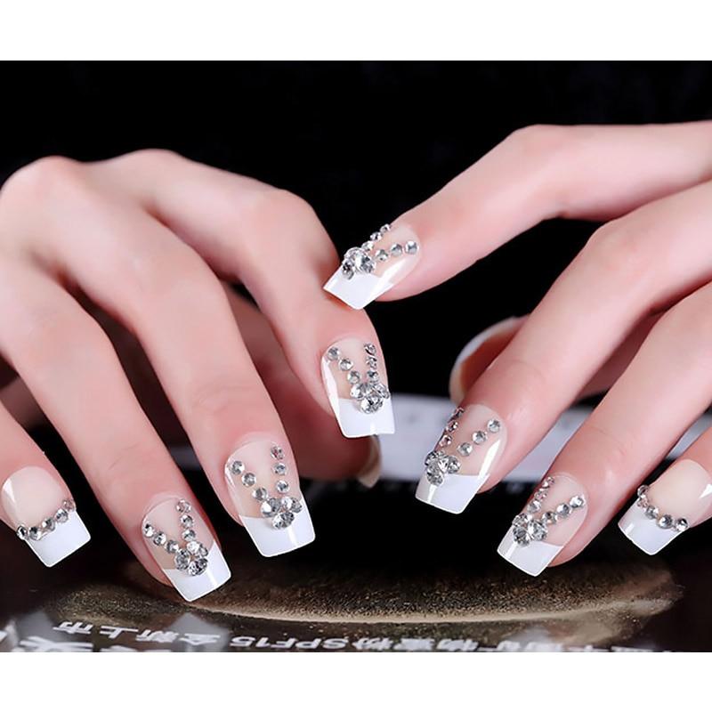 Girls Nail Art New Dizains: 24pcs DIY New Hot Artificial Nail Girls Shining Rhinestone