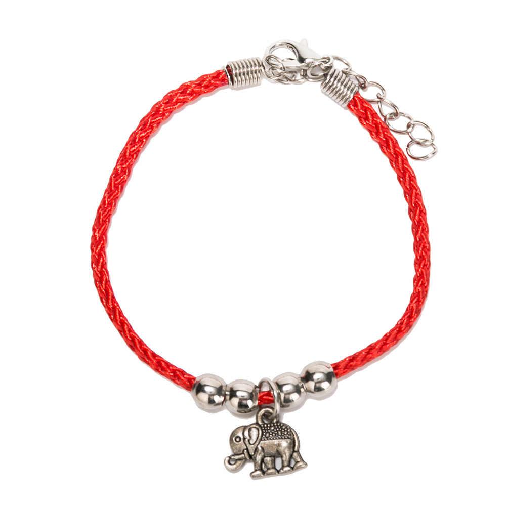 Vie de charme d'arbre fil rouge chaîne de perles Bracelet pour femmes hommes avec chaîne d'extension