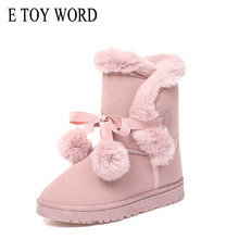 E TOY WORD Women Winter Boots Pom Poms Warm Snow Boots Casual Slip On boots women Plush Suede Platform Ladies Shoes botas mujer lady casual rubber warm snow suede trend for fashion home slip on shoes