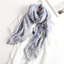 Large Soft Viscose Blue Rhombic Tassels Scarf Small Floral Print for Women Bohemian Style Summer Beach Sunscreen Scarf  XS018