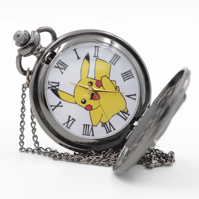 Retro Black Pikachu Game Pokemon Pocket Monsters Quartz Pocket Watch Analog Pend