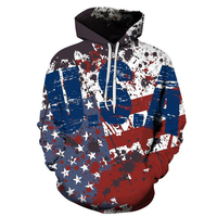 2018 New Men Women Hoodies Sweatshirt Retro American Flag Hoodies Casual Unisex Harajuku 3D Printing USA