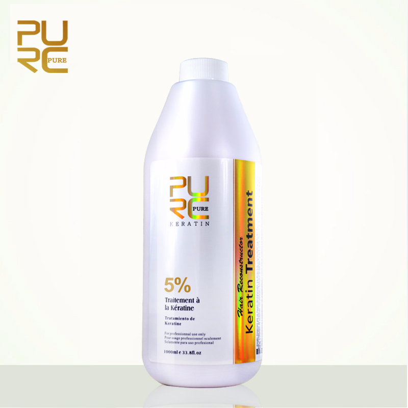 PURC Brazilian Keratin Hair Treatment Formalin 5% 1000ml Hot Sale Hair Straightener Hair Care and Hair Mask PURE hair treatment 12% formalin new arrived hair straightener brazilian keratin 1000ml x 2 bottles hair care products free shipping