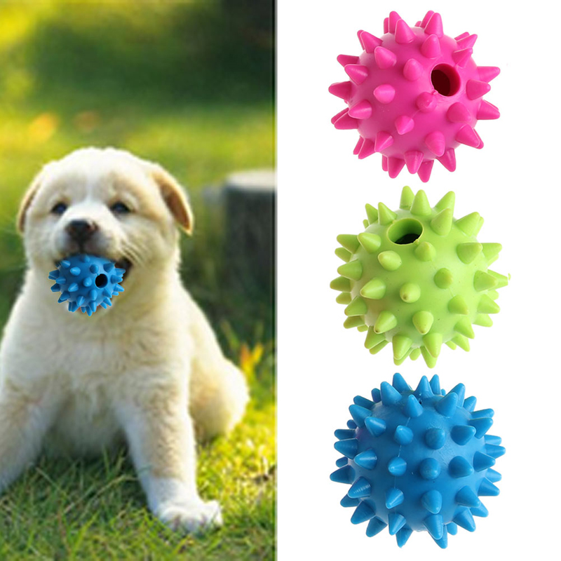 New Pet Dog Puppy Sound Chew Squeaker Rubber Ball For Fun Teeth Cleaning Toy On Sale