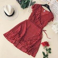 купить 2019 Women's Summer Vintage Polka Dot Dress One Piece Beach Dresses Ruffled V Collar Waist Tie Irregular Ruffles Dresses по цене 778.97 рублей