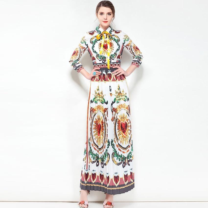 Designer 2018 Haute Maxi De Col Chemise Blouse Femmes Nouvelle Vintage Mode 3 Manches Longue Qualité Piste Robe Imprimé 4 qwt6HTIwrc