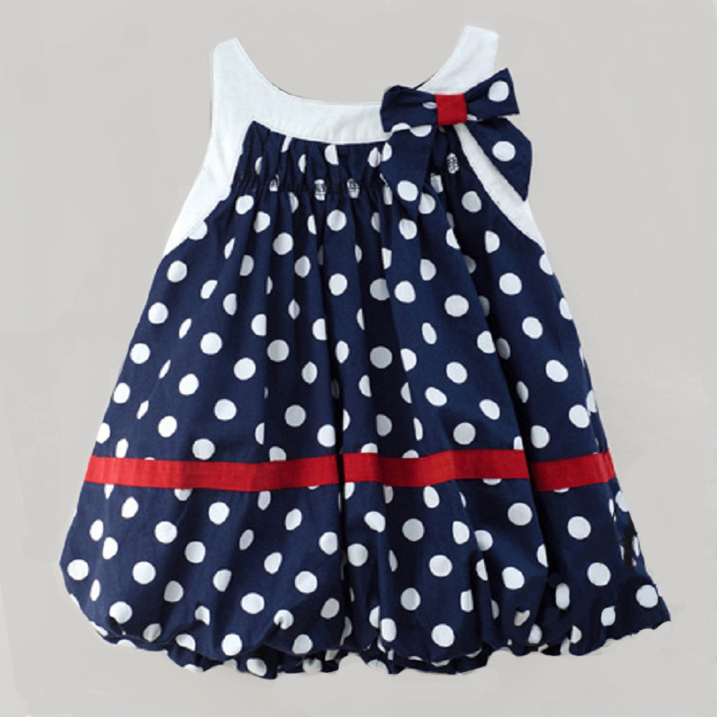 Girl Dress Princess Summer Wedding-Costumes Baby Clothing Party Cute Dot Bow Bow-Lantern title=