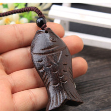 Factory Outlet Tibetan Ethnic Ancient Jewelry Lucky Fish god of wealth Wooden Pendant Vintage Necklace Long Necklace For Women все цены