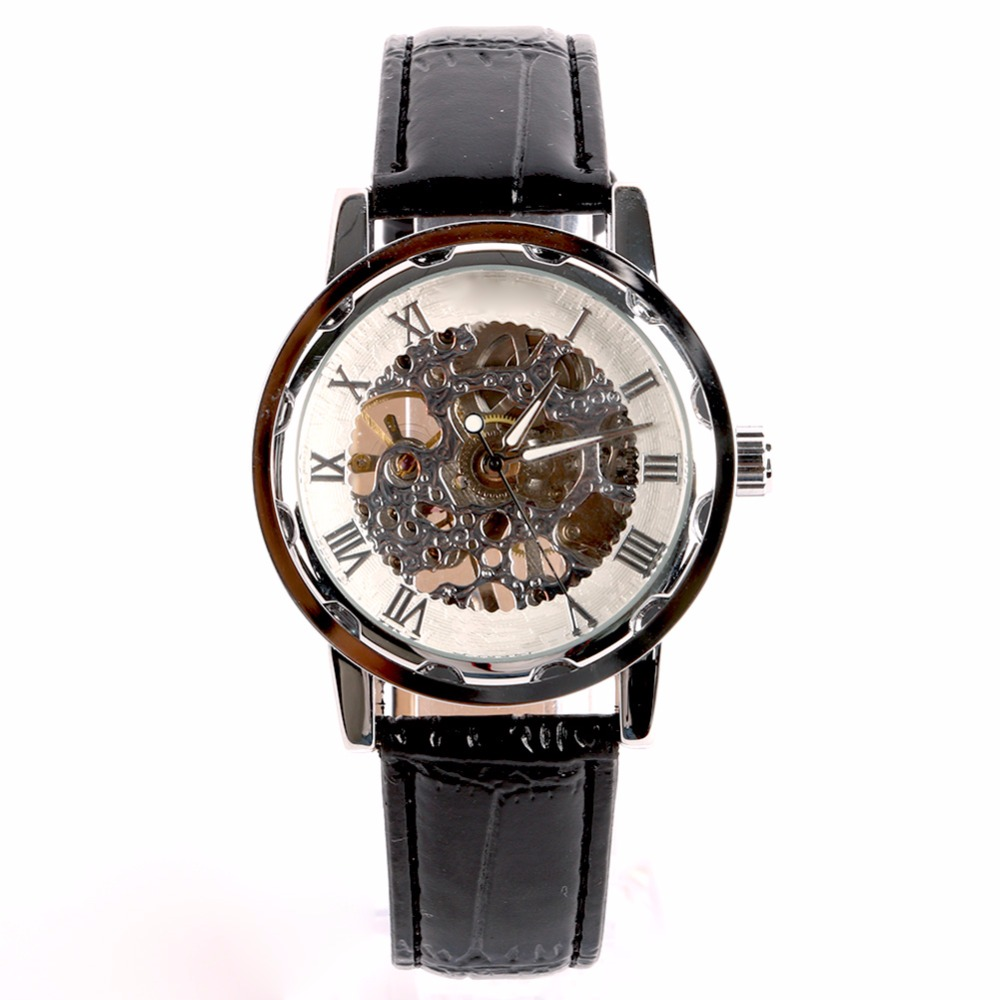 Men Gold Dial Skeleton Black Leather Mechanical Sport Army Wrist Watch купить