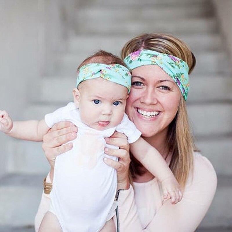 New Mom and Me Matching Turban Headband for Hair Accessories Fashion Bohemian Floral Headband Set Baby Topknot Headband Set 1set