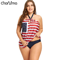 CHARMMA American Flag Plus Size Tankini Set New 2018 Women Halter Bathing Suit Bikini Two Piece