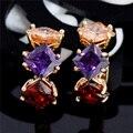 Высокое Качество Позолоченный Многоцветный CZ Элегантные Женские Серьги Обруча Модные Драгоценности