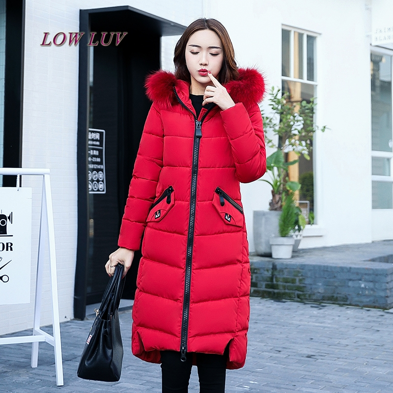 Snow wear large fur collar coat women parka long 2017 winter parkas female thick warm ladies jackets and coats outerwear Brown z fdfklak thick long winter jacket women cotton padded parkas women s winter coats jackets outerwear female warm parka mujer b044