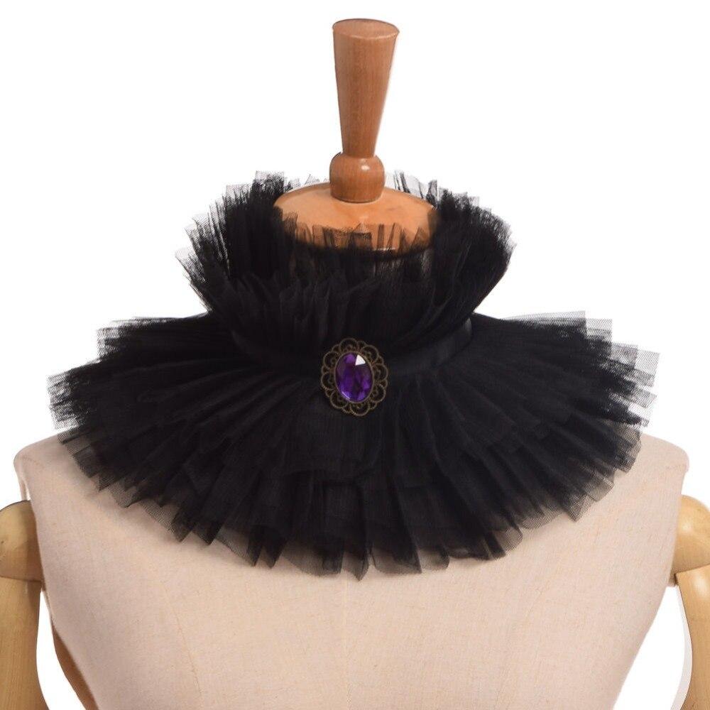 Елизаветинской викторианской съемный воротник Винтаж черный Раффлед Высокий широкий Средства ухода за кожей шеи Ерш
